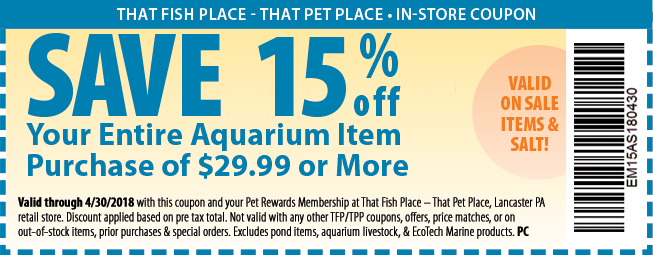 retail store coupons that fish place that pet place