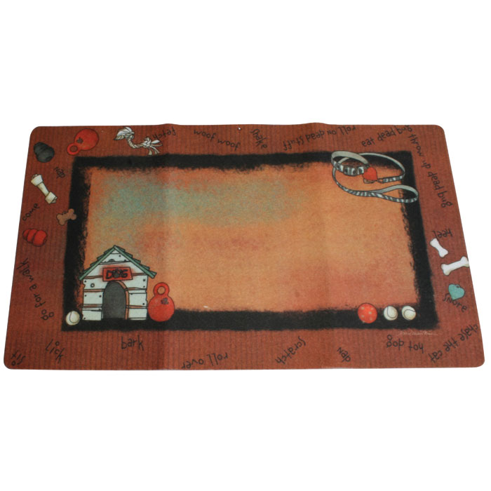 Drymate Dog Place Mat Stripe Border Rust 12 In. X 20 In.