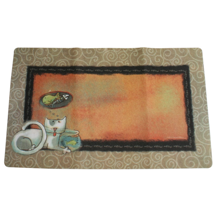 Drymate Cat Place Mat Fish Kitty 12 In. X 20 In.