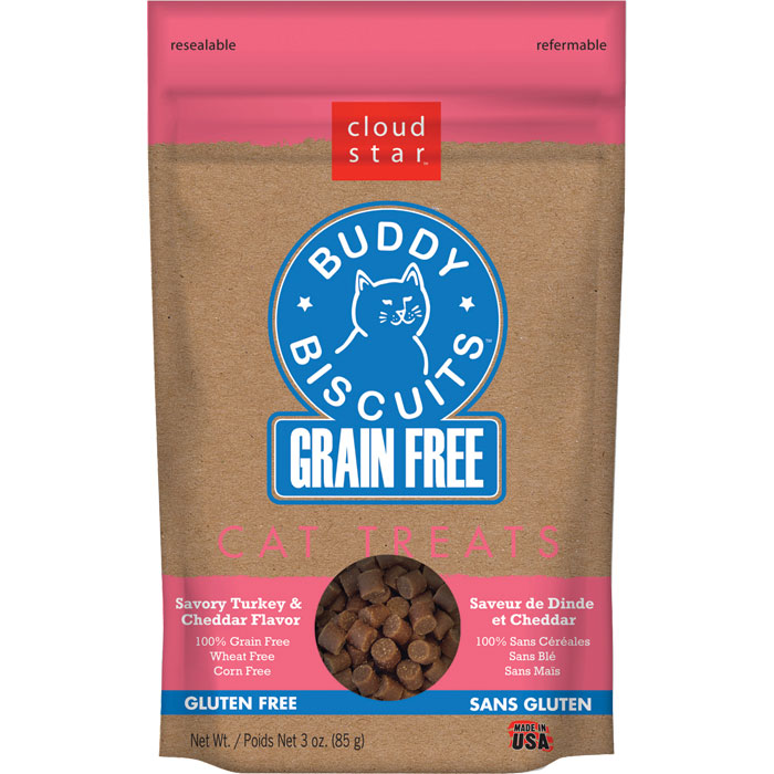 Buddy Biscuits Grain Free Cat Treats Turkey Cheddar 3oz.