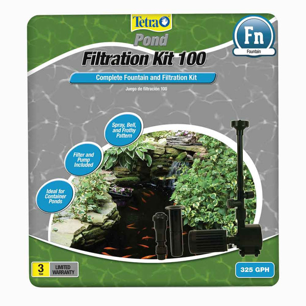 Tetra pond filtration fountain kit up to 100 gallons for 100 gallon pond pump
